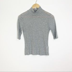 Topshop Mock Neck Gray 3/4 Sleeves Top Size 6